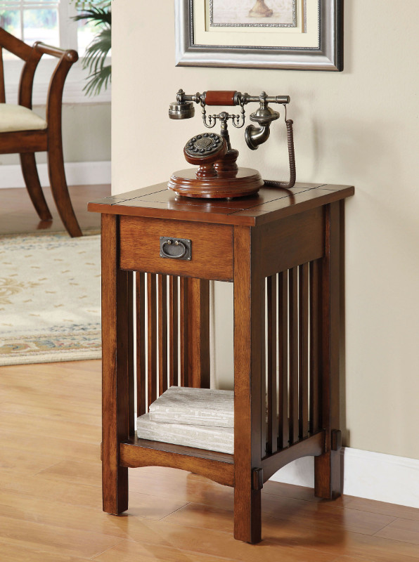 CM-AC209 Valencia mission style accent telephone stand with one drawer