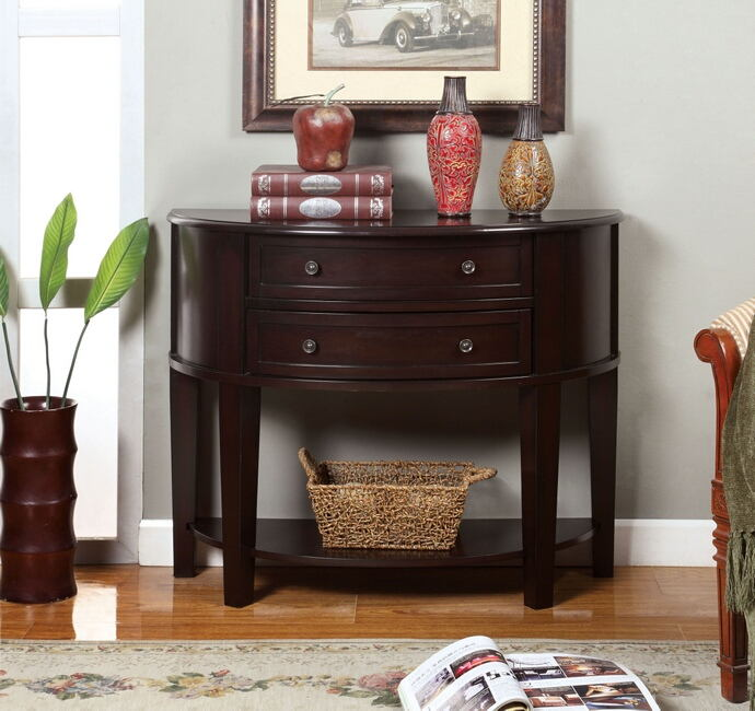 Chanti collection contemporary style style espresso finish wood console table with 2 curved front drawers