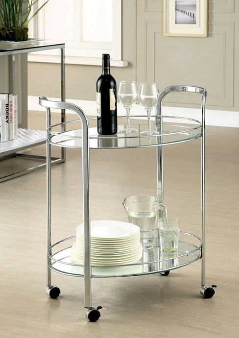 Loule collection contemporary style chrome metal and glass tea serving cart with casters
