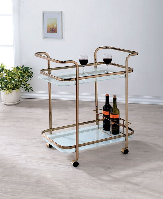 Tiana collection champagne finish metal two level tea cart tray with casters