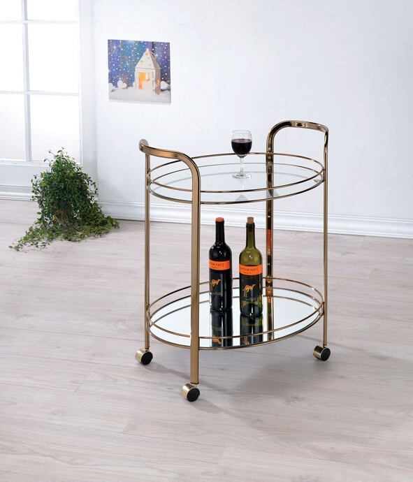 Starla collection champagne finish metal two level tea cart tray with casters