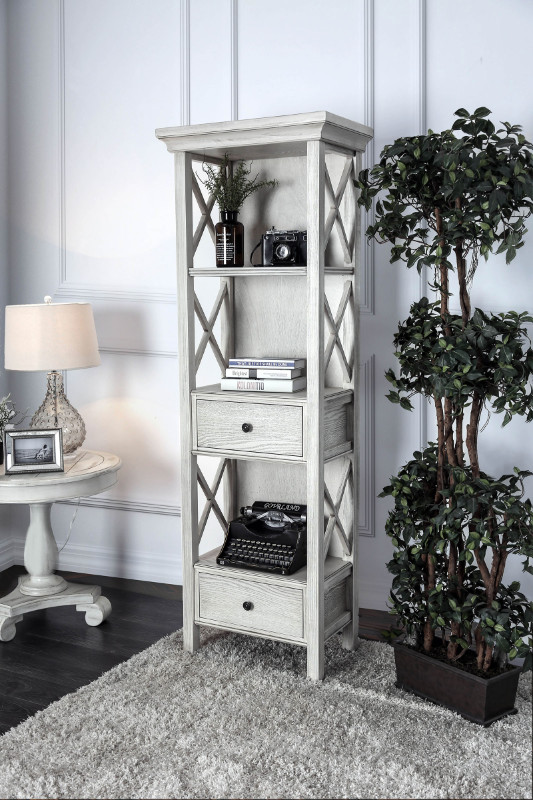 CM-AC278 Georgia antique white finish wood bookcase shelf unit