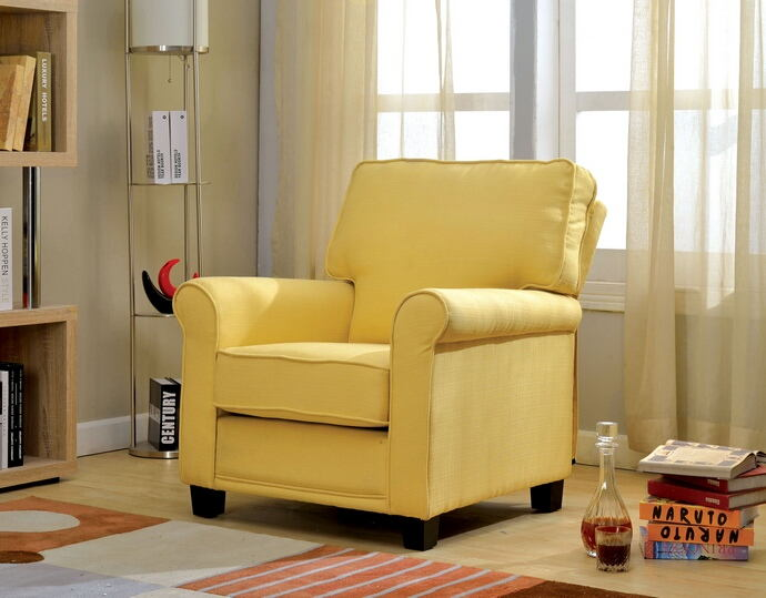 Belem collection transitional style yellow padded flax fabric upholstered accent chair with rounded arms