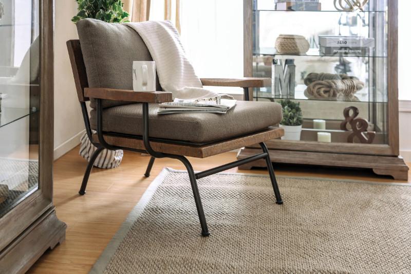 CM-AC6077 Santiago rustic finish wood trim light brown fabric accent chair