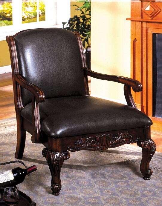CM-AC6177-PU Sheffield antique dark cherry finish wood espresso leatherette accent chair