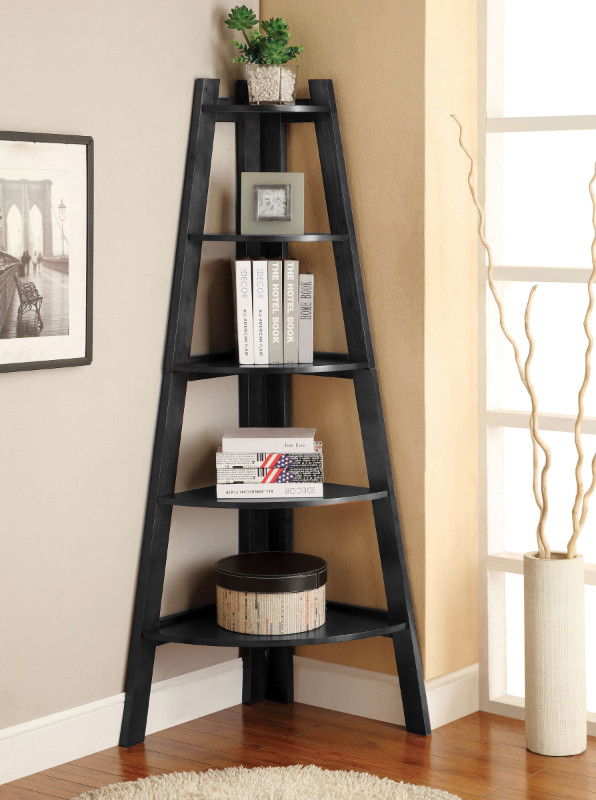 CM-AC6214BK Lyss black finish wood 5 tier corner bookcase shelf