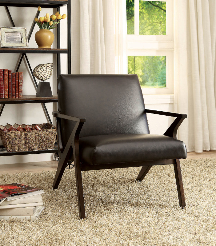 Dubois collection retro modern style dark brown leatherette upholstered arm chair with espresso wood frame