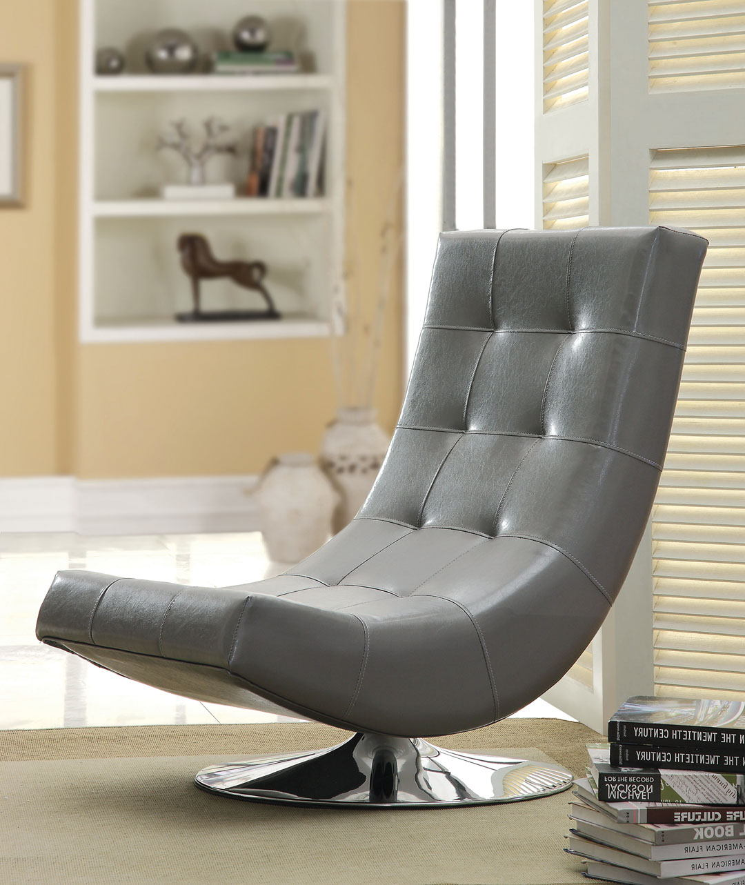 CM-AC6912GY Trinidad gray leather like vinyl hammock style tufted swivel scoop chair