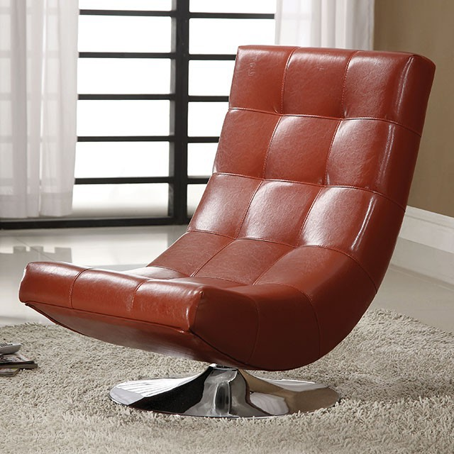 Trinidad contemporary style red leather like vinyl hammock style tufted swivel scoop chair with chrome base