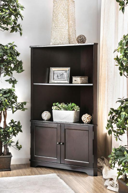 CM-AC807EX Cavan espresso finish wood corner bookcase shelf unit