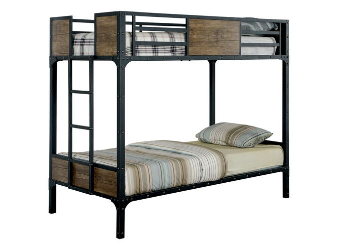 Clapton collection black finish metal frame industrial inspired style twin over twin bunk bed set
