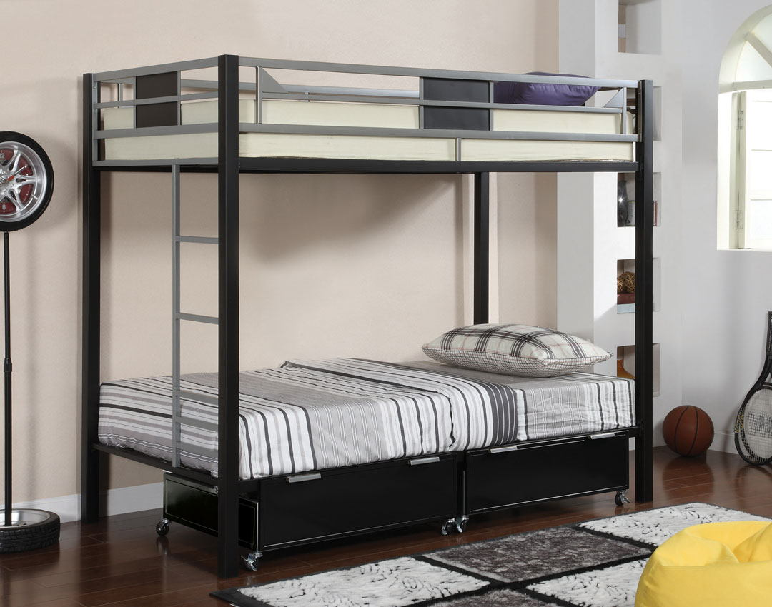 Furniture of america CM-BK1021 Clifton i twin over twin bunk bed two toned silver and black finish metal with built in ladder