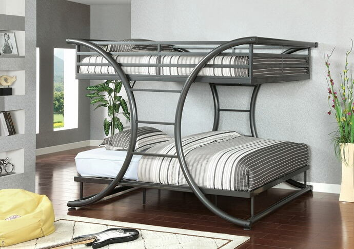 Lexis collection gun metal grey metal finish construction full over full bunk bed