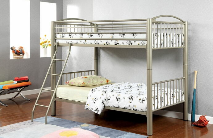 Lovia collection metallic gold finish twin over twin convertible bunk bed set with clean straight lines design