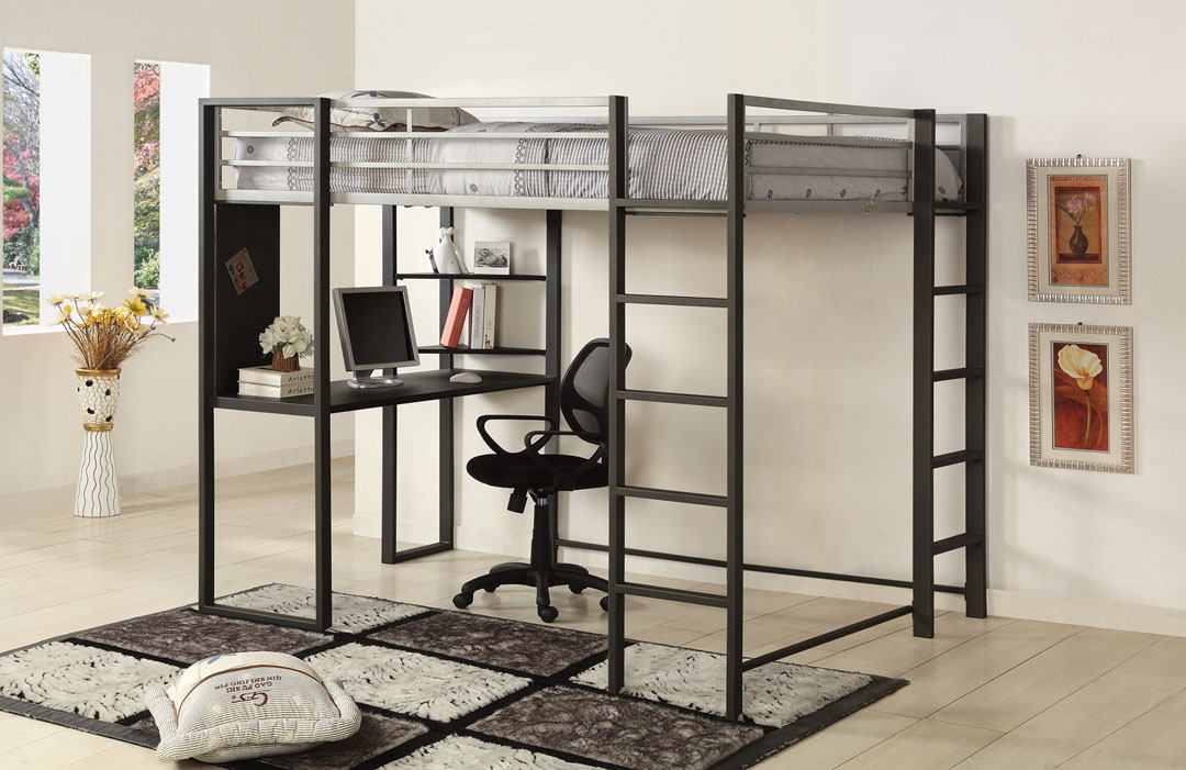 CM-BK1098F Sherman silver and gun metal finish metal frame full size loft  bunk bed with desk are with shelves underneath