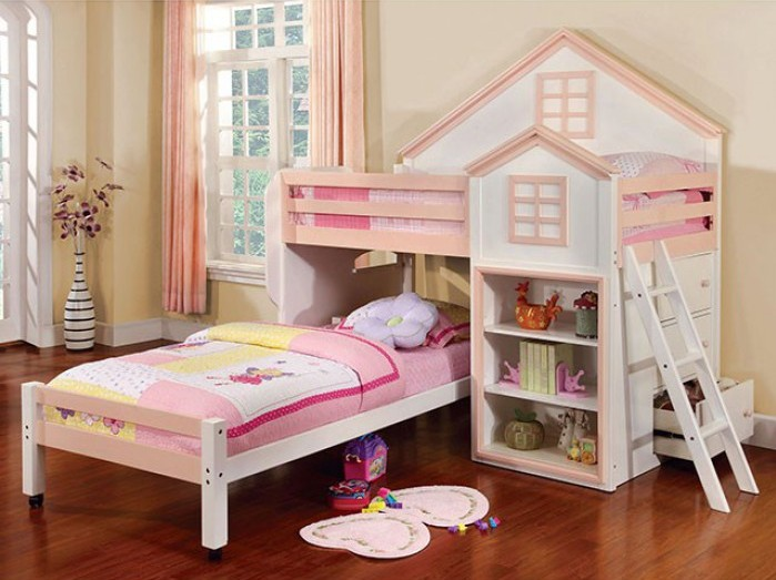 Citadel collection pink and white finish wood playhouse design twin over twin loft bed