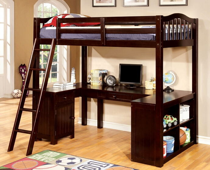 CM-BK265EXP Dutton dark walnut finish wood twin bunk bed with lower workstation u shaped desk underneath