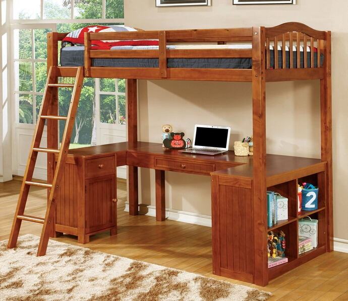 CM-BK265A Dutton oak finish wood twin bunk bed with lower workstation u shaped desk underneath