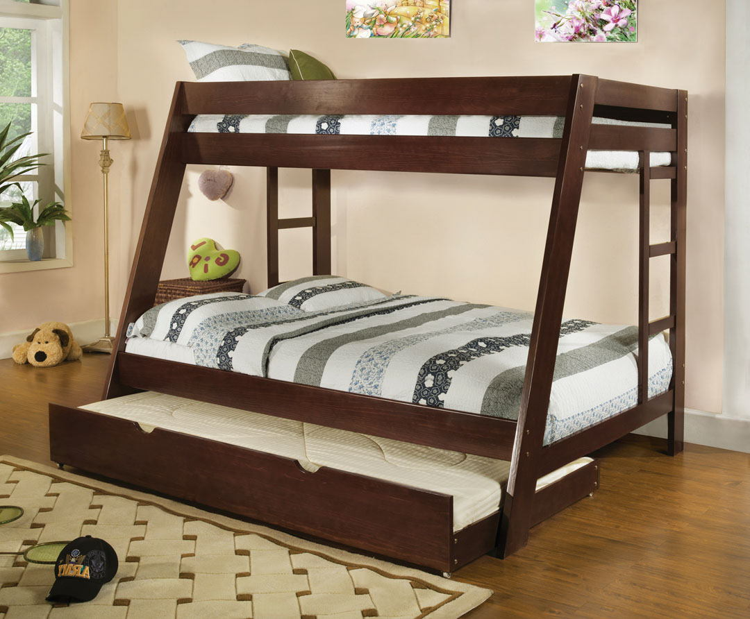 CM-BK358EXP Arizona light espresso wood finish twin over full bunk bed