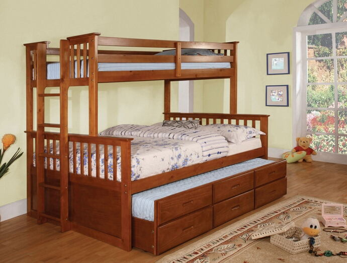 CM-BK458F-CTR-OAK University oak finish wood twin over full mission style bunk bed set with twin trundle and drawers