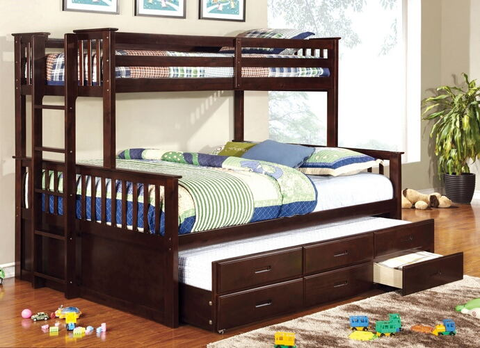 University collection espresso finish wood twin over queen mission style bunk bed set with twin trundle and drawers