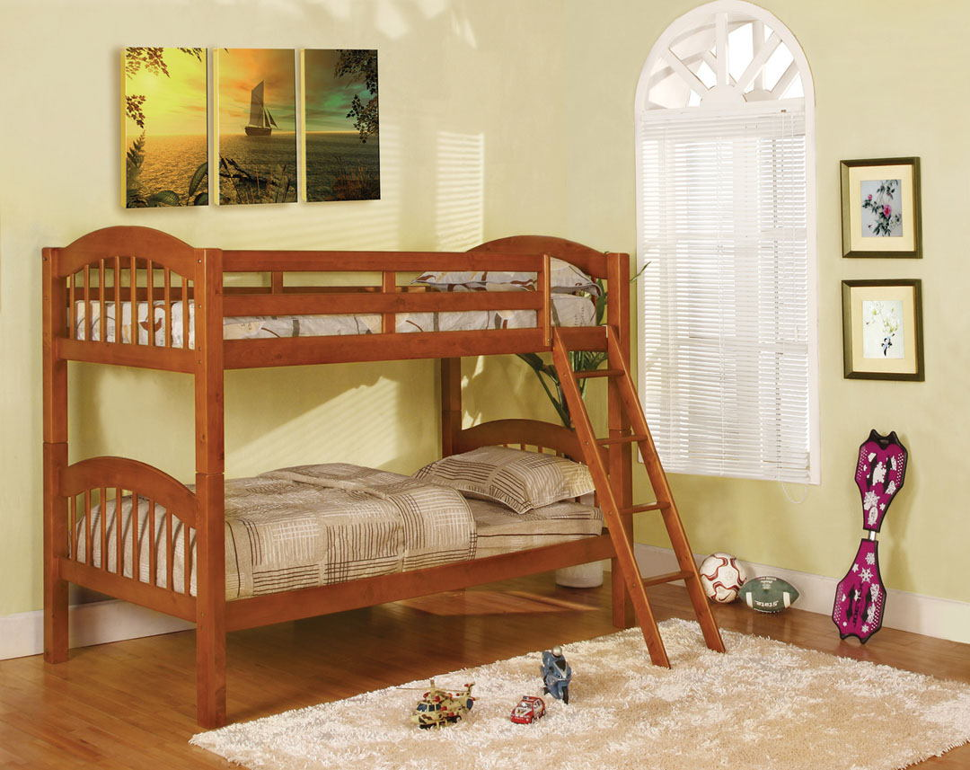 CM-BK524OAK Coney island iii cherry wood finish twin over twin  bunk bed  with front access angled ladder