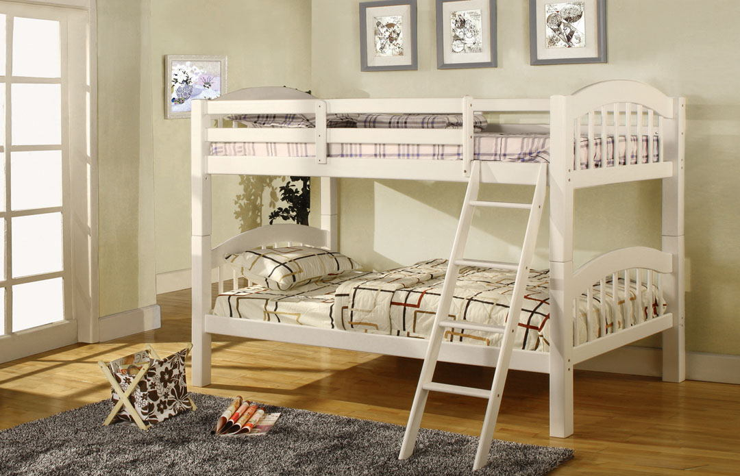 Coney island iii white wood finish twin over twin  bunk bed  with front access angled ladder