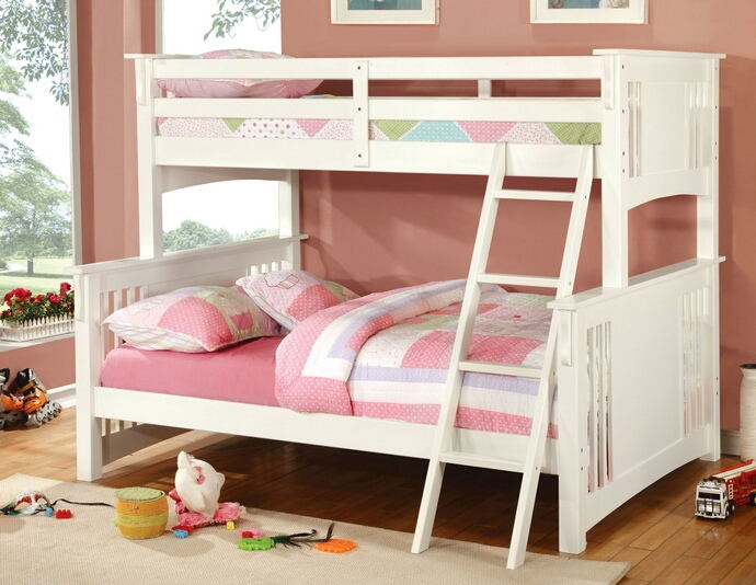 Spring creek i white finish twin over full bunk bed with front angled ladder