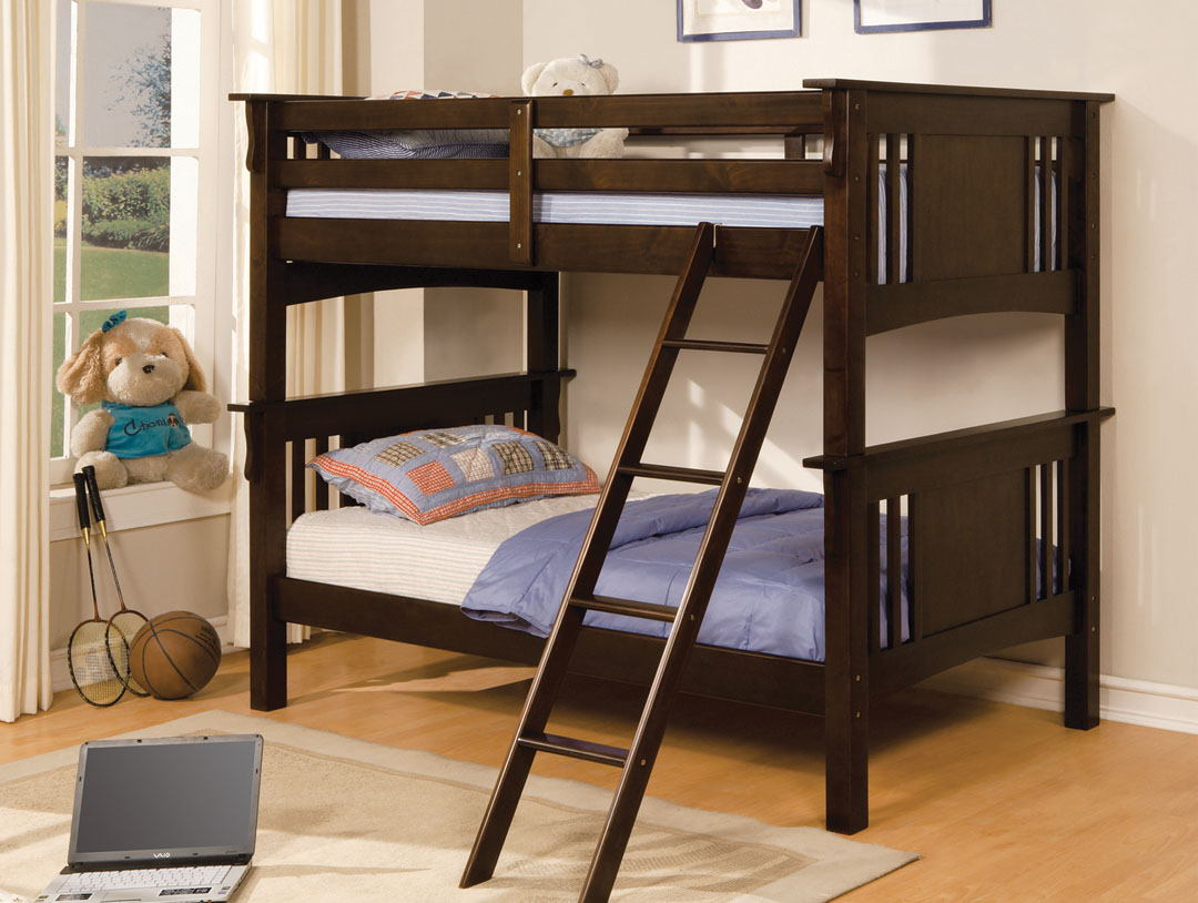 Miami espresso finish wood twin over twin bunk bed with mission style headboard and footboards
