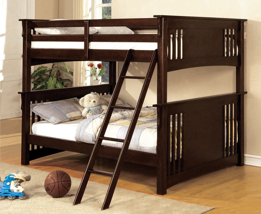 CM-BK603EXP Miami i espresso finish full over full bunk bed with front access angled ladder