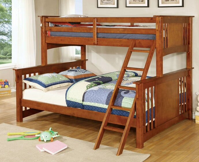Spring creek iii oak wood finish twin over queen bunk bed with front angled ladder