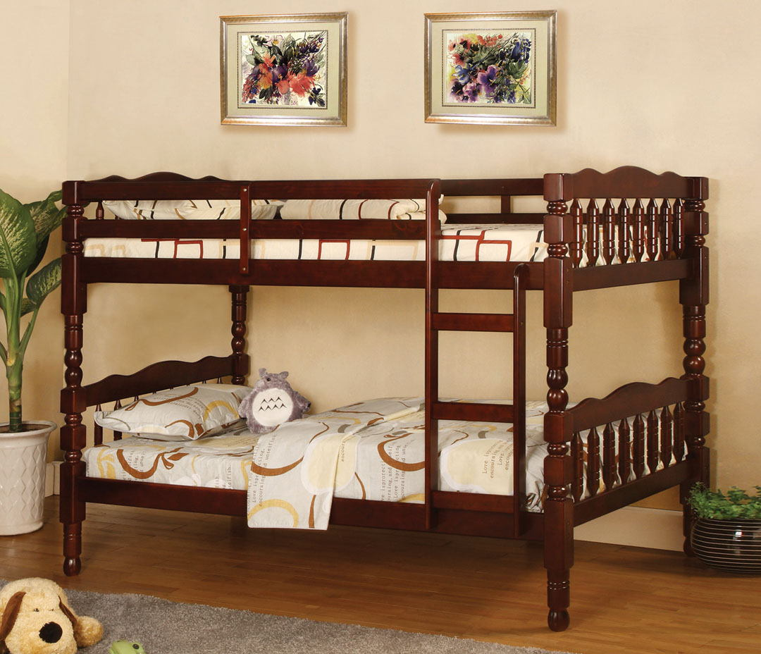 CM-BK606CH Catalina ii cherry wood finish country style twin over twin bunk bed with a fixed front access ladder