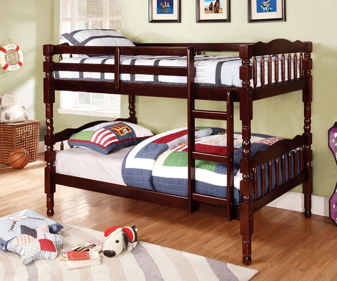 Catalina ii expresso wood finish country style twin over twin bunk bed with a fixed front access ladder