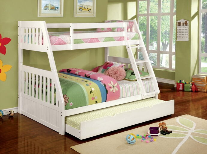Canberra ii white finish twin over full bunk bed with front angled ladder