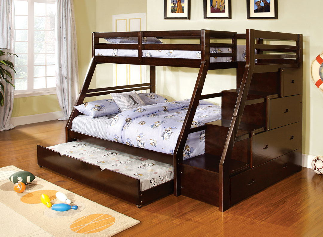 Furniture of america CM-BK611EX Ellington dark walnut finish wood twin over full bunk bed with staircase end with storage drawers