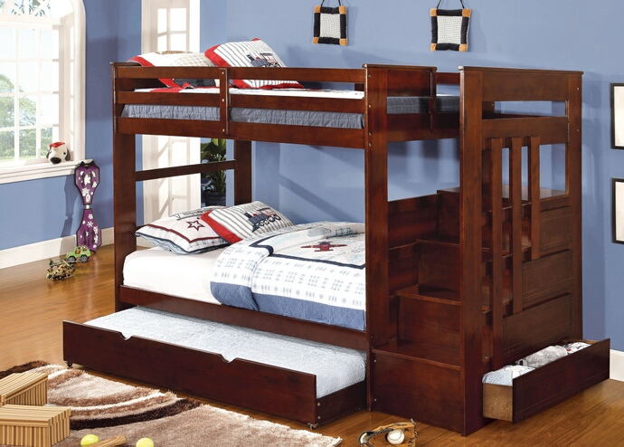 Woodridge collection dark walnut finish wood twin over twin bunk bed with stairs on the end