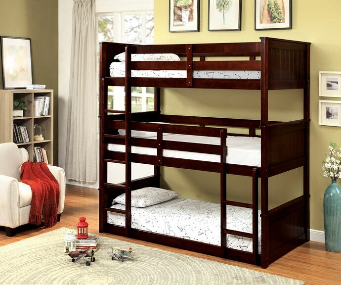 Therese collection triple twin bed twin over twin over twin espresso finish wood bunk bed