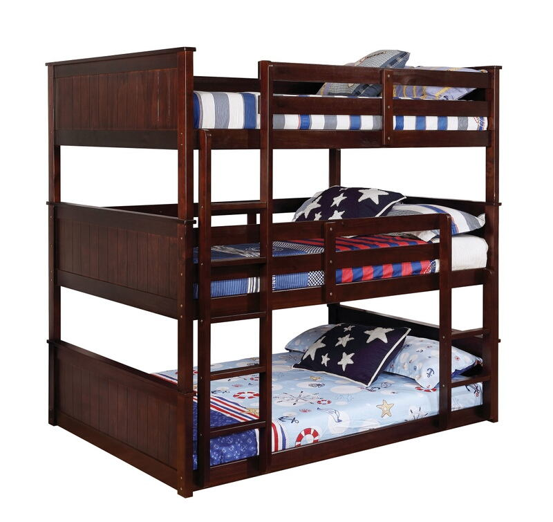 Furniture of america CM-BK628F Therese collection triple full bed full over full over full espresso finish wood bunk bed