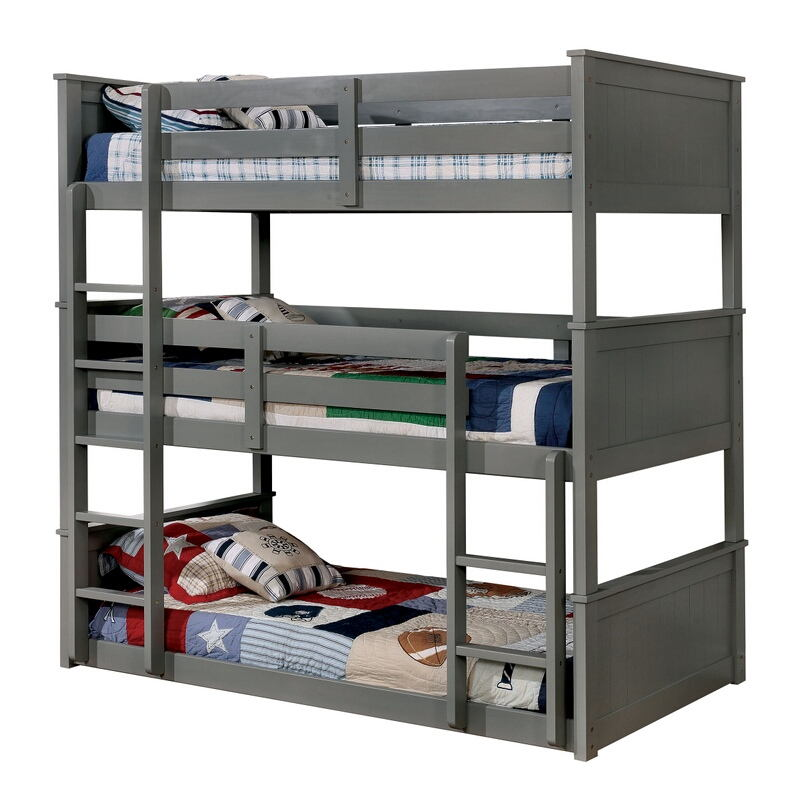 CM-BK628GY-T Therese triple twin bed twin over twin over twin gray finish wood bunk bed