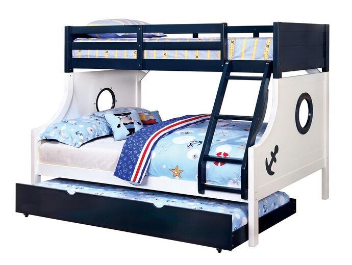 CM-BK629 Nautia nautical themed porthole design blue and white finish wood twin over full bunk bed