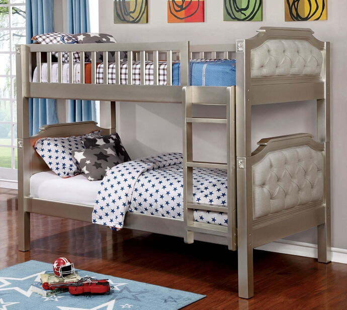 CM-BK717 Beatrice champagne finish wood twin over twin convertible bunk bed with padded head and foot boards