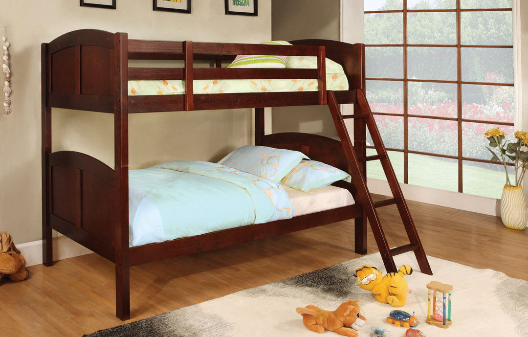 Rexford ii cherry wood finish twin over twin  bunk bed  with front access angled ladder