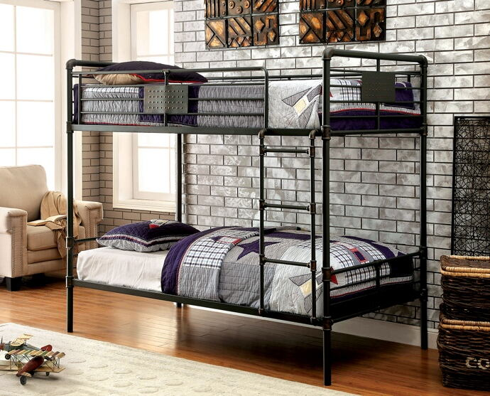 Olga i  collection antique black finish metal frame industrial inspired style twin over twin bunk bed set