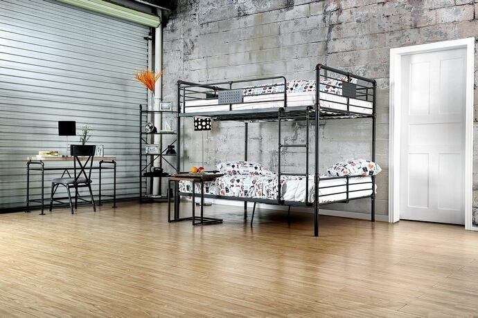 CM-BK913FF Harriet bee garlington antique black finish metal frame industrial inspired style full over full bunk bed set