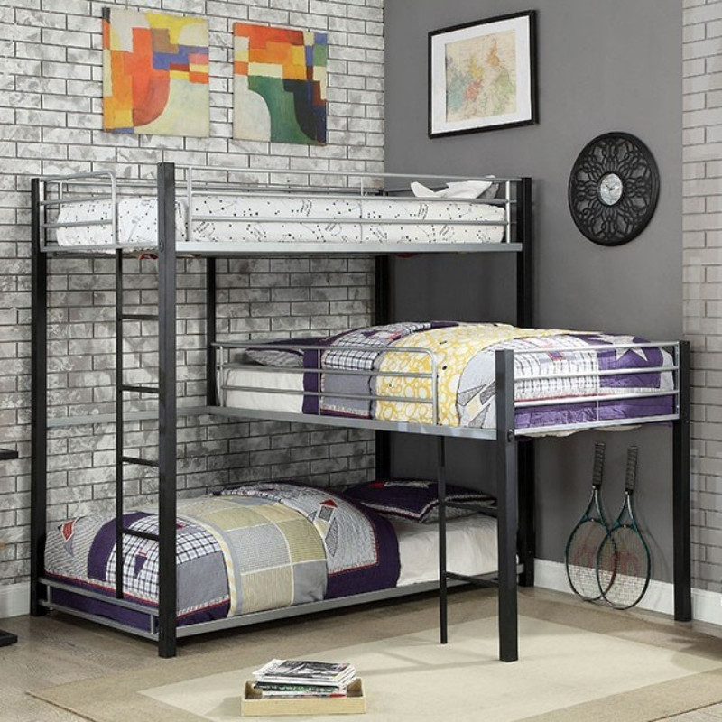 "CM-BK919 Harriet bee fielding aubrey triple twin ""L"" shaped twin over twin over twin sand black / silver metal frame industrial bunk bed"