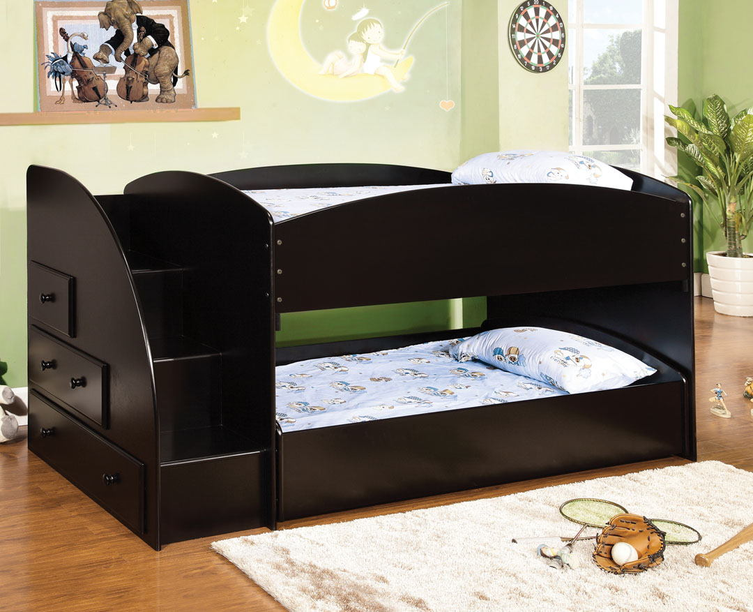 Merritt black finish wood twin over twin short style bunk bed with pull out trundle bed on bottom with stairs
