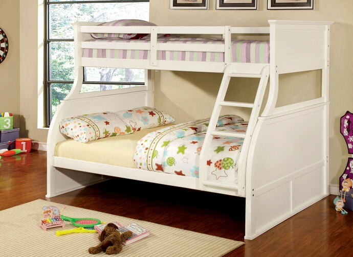 Canova collection white finish wood twin over full panel style bunk bed set with curved design