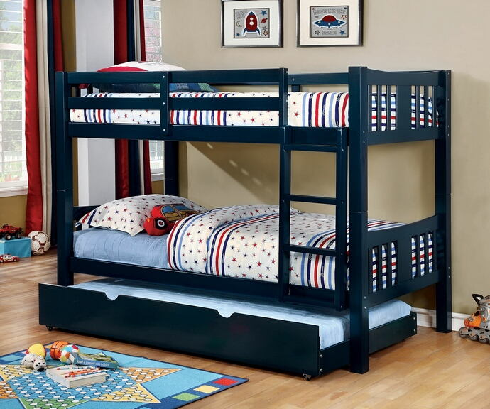 CM-BK929BL Cameron transitional style twin over twin blue finish wood bunk bed set
