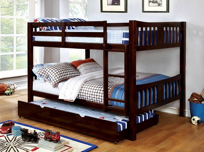 CM-BK929F-EX Cameron transitional style full over full dark walnut finish wood bunk bed set