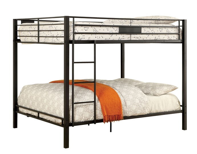 Claren collection black finish metal frame contemporary style queen over queen bunk bed set